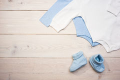 Blue and white baby clothes royalty free stock image