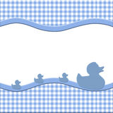 Blue and White Baby Frame. With Ducks for your message or invitation with copy-space in the middle Royalty Free Stock Photo