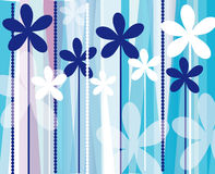Blue and white background with flowers and circles Royalty Free Stock Images