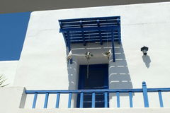 BLUE AND WHITE BALCONY AS MEDITERRANEAN STYLE IN SANTORINI PARK, THAILAND Stock Photo