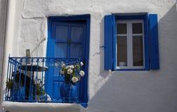 Blue and white balcony Stock Photo