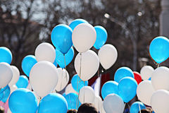 Blue and white balloons crowd Royalty Free Stock Photography