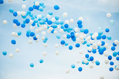 Blue and white balloons Stock Photo