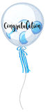 Blue and white balloons with word congratulation Royalty Free Stock Photos