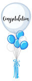 Blue and white balloons with word congratulation Royalty Free Stock Images