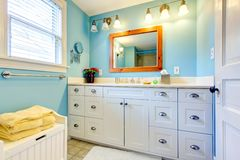 Blue and white bathroom Stock Image