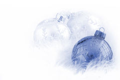 Blue and White Baubles. On white Stock Photography