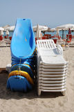 Blue and White Beach Chairs Stock Image