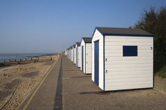 Blue and White Beach Huts, Southwold, Suffolk, England Royalty Free Stock Image