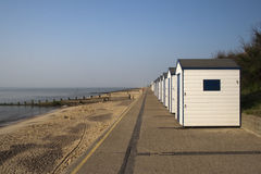 Blue and White Beach Huts, Southwold, Suffolk, England Royalty Free Stock Photos