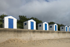 Blue and White Beach Huts at Southwold, Suffolk, U. A row of blue and white beach huts at Southwold, Suffolk, UK Royalty Free Stock Photography