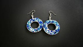 Blue and White Beaded Earrings Stock Photos