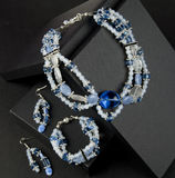 Blue and white beaded necklace Royalty Free Stock Photo