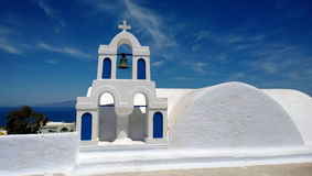 Blue and white bell tower at Santorini - Oia Stock Photos