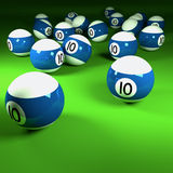 Blue and white billiard balls number ten Royalty Free Stock Photos