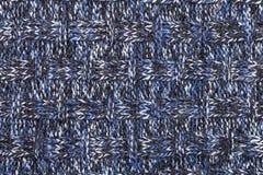Blue white black knitted melange fabric cloth pattern Royalty Free Stock Image