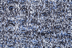Blue white black knitted melange fabric cloth pattern Royalty Free Stock Photo