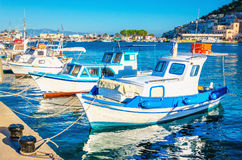 Blue-white  boats in Greek port, Greece Royalty Free Stock Photo