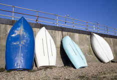 Blue and white boats at Southend-on-Sea, Essex, England Stock Photo
