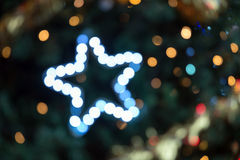 Blue and white bokeh with star Royalty Free Stock Photography