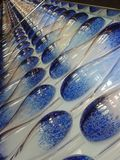Blue and White Bowling Pin Lane Royalty Free Stock Photography