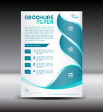 Blue and white Brochure flyer template,newsletter design Royalty Free Stock Images