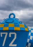 Blue And White Buoy Royalty Free Stock Image