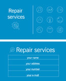 Blue and white business card repair. Business card repair services sanitary, electronic, technology Royalty Free Stock Photo