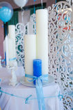 Blue and white candles Stock Images