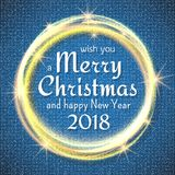 2018, Blue and White card with Merry Christmas text and gold glitter frame. Sparkling holiday background, vector dust. Border. Great for Christmas and New Year Stock Photos