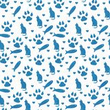 Blue and white cat, paw prints, fish, and hearts seamless and r. Epeat pattern background with texture stock photos