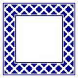 Ceramic frame. Blue and white ceramic decorative square frame, beautiful porcelain ornament border, vector illustration stock illustration