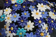 Blue and White Ceramic flowers royalty free stock image