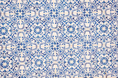 Blue and white ceramic tile pattern. texture background Stock Image