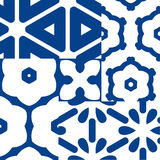 Blue and white ceramic tiles. Patchwork style Stock Images