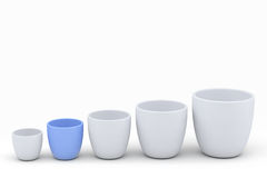 Blue and white ceramics flowerpot set, rendered models Stock Photography