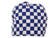 Blue and white check chef hat Stock Photo