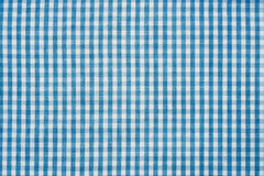 Blue and white checkered fabric background texture Stock Image