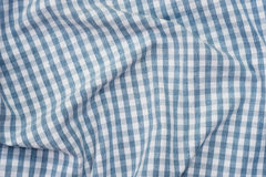 Blue and white checkered fabric background texture Royalty Free Stock Photos