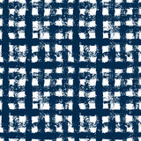 Blue and white checkered grunge gingham seamless pattern, vector Royalty Free Stock Image