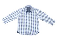 Blue white checkered kids shirt with bow tie. Very nice shirt ,past für warmer tage für party,urlaub royalty free stock photography
