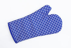 Blue and White Checkered Oven Mitt Glove. Isolated on white background Royalty Free Stock Image