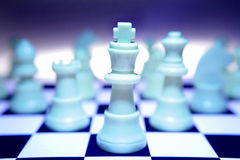 Blue white chess pieces Royalty Free Stock Photo
