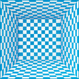 Blue and white chessboard walls room background Royalty Free Stock Image