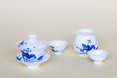Blue and white china tea cups Stock Photos