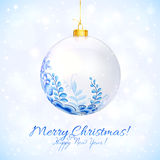 Blue and white Christmas ball with floral ornament Stock Photography