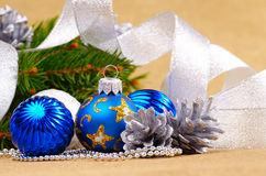 Blue and white christmas balls Royalty Free Stock Photography