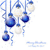 Blue and white Christmas balls Stock Image