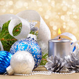 Blue and white christmas balls with silver candle Royalty Free Stock Photo
