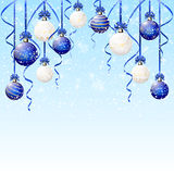 Blue and white Christmas balls with snow. Fall, illustration Royalty Free Stock Photo
